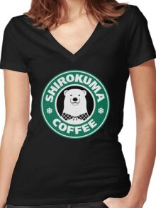 Shirokuma Coffee Women's Fitted V-Neck T-Shirt