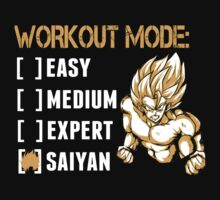 Workout Mode Easy Medium Expert Saiyan - Funny Tshirts by funnyshirts2015