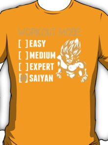 Workout Mode Easy Medium Expert Saiyan - Funny Tshirts T-Shirt