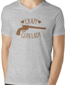 Crazy Gun Lady Mens V-Neck T-Shirt