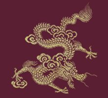Gold Chinese Dragon Tshirt Design by Jane McDougall