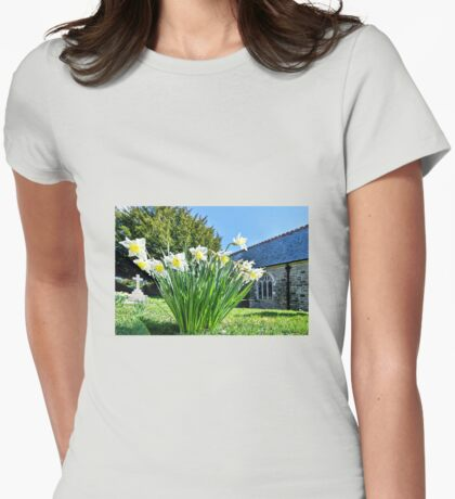 Daffodils At St Feock Church - Cornwall Womens Fitted T-Shirt