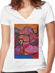 Elephant Maps or Google Maps Women's Fitted V-Neck T-Shirt