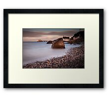 Sunset at Knab rock in Mumbles Framed Print