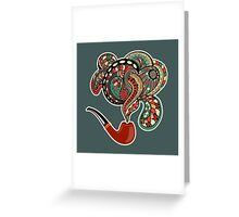 Pipe with smoke ornaments and curls Greeting Card