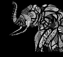 African Elephant in Traditional African Patterns (black) by dani-lafez
