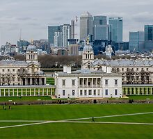 Canary Wharf set against the Old Naval College in Greenwich, London, viewed from the Observatory by Luke Farmer