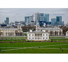 Canary Wharf set against the Old Naval College in Greenwich, London, viewed from the Observatory Photographic Print