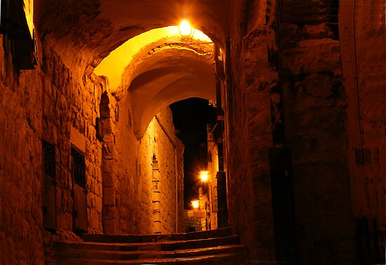 Abuhav alley Safed at night by Moshe Cohen