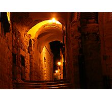 Abuhav alley Safed at night Photographic Print