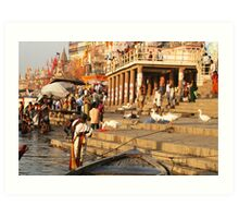 A busy place- Ganges River India Art Print