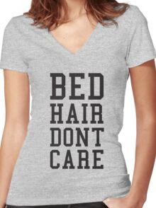 Bed Hair Dont Care Slogan Women's Fitted V-Neck T-Shirt
