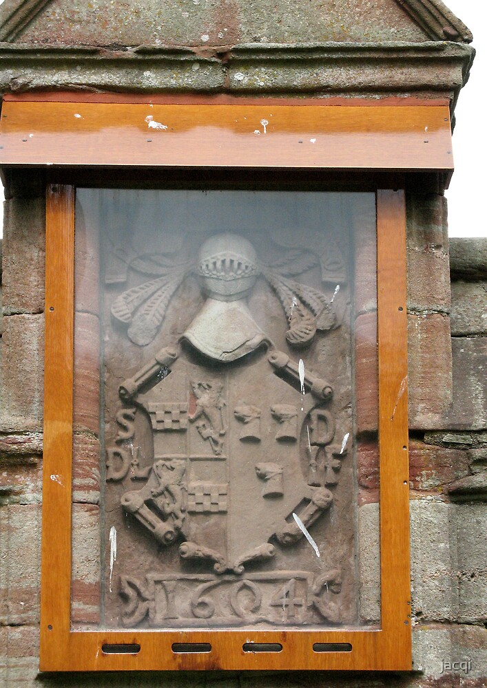 Lindsay Coat of Arms, garden Edzell Castle, Angus, Scotland by jacqi
