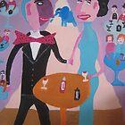 Couple with blue elephant by Detlev  Jurkuhn