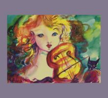 VIOLINIST GIRL ,VIOLIN  AND CAT  Kids Clothes