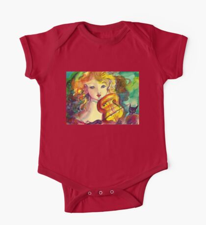 VIOLINIST GIRL ,VIOLIN  AND CAT  One Piece - Short Sleeve