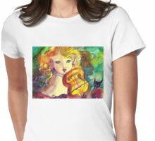 VIOLINIST GIRL ,VIOLIN  AND CAT  Womens Fitted T-Shirt