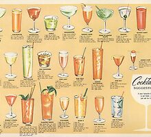 Mid Century Cocktail Suggestions Vintage Design by Framerkat
