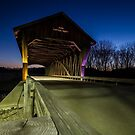 Covered Bridge at dusk with light painting by Sven Brogren