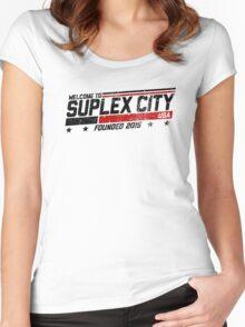 SUPLEX CITY, USA - Black Women's Fitted Scoop T-Shirt
