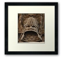 military heraldic mask bas relief Framed Print