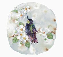Watercolor | Hummingbird and Apple Blossom Kids Tee
