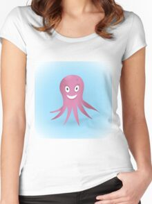 Cute hand drawn octopus. Women's Fitted Scoop T-Shirt