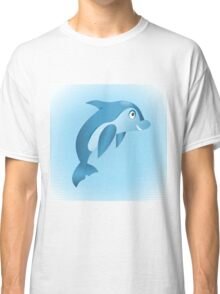 Cute hand drawn blue dolphin. Classic T-Shirt