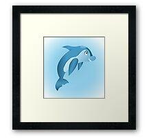 Cute hand drawn blue dolphin. Framed Print