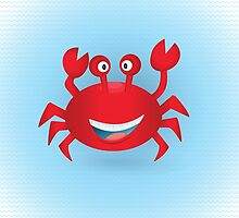 Cute hand drawn red crab. Tropical sea life design. by SunshineArt