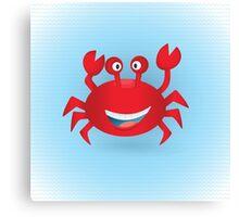 Cute hand drawn red crab. Tropical sea life design. Canvas Print