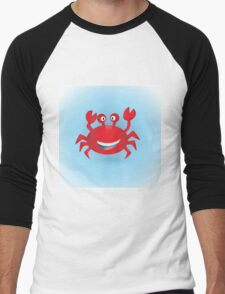 Cute hand drawn red crab. Tropical sea life design. Men's Baseball ¾ T-Shirt