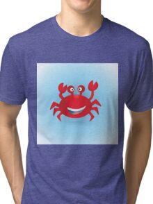 Cute hand drawn red crab. Tropical sea life design. Tri-blend T-Shirt