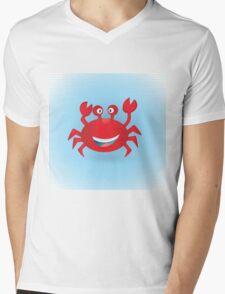 Cute hand drawn red crab. Tropical sea life design. Mens V-Neck T-Shirt