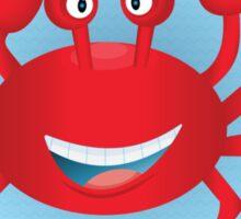 Cute hand drawn red crab. Tropical sea life design. Sticker