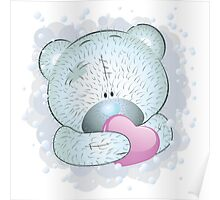 Blue teddy bear with heart Poster