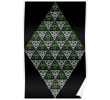 Modern - Triangles of Silver and Green Poster