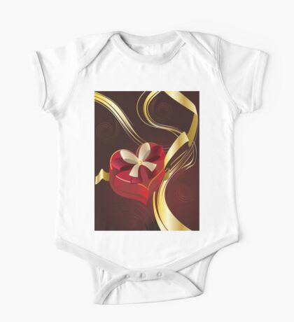 Brown Background with Heart Shaped Box One Piece - Short Sleeve