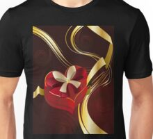 Brown Background with Heart Shaped Box Unisex T-Shirt
