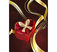 Brown Background with Heart Shaped Box Photographic Print