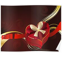 Brown Background with Heart Shaped Box 2 Poster