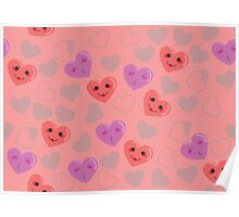 Cute hearts pink pattern Poster