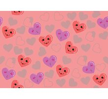 Cute hearts pink pattern Photographic Print