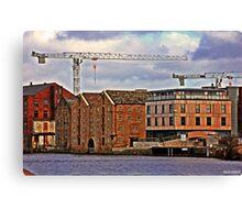 Buildings + Crane Canvas Print