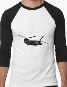 Large Detailed Boeing Chinook Helicopter Black v1 Men's Baseball ¾ T-Shirt