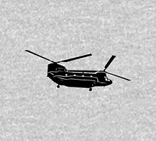 Large Detailed Boeing Chinook Helicopter Black v1 Unisex T-Shirt