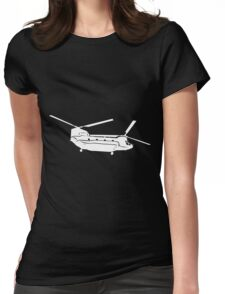 Large Detailed Boeing Chinook Helicopter White v1 Womens Fitted T-Shirt
