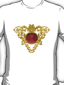 GOLD CELTIC HEART WITH RED RUBY GEMS T-Shirt
