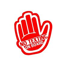 NO TEXTING ON BOARD Red v1 by jnmvinylstudio