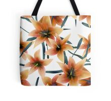 Seamless pattern with orange lilies texture on white Tote Bag